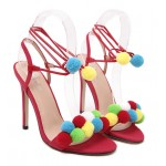 Red White Khaki Colorful Fur Pom Suede High Stiletto Heels Pumps Sandals