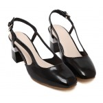 Black Patent Leather Blunt Head Sling Back High Heels Shoes