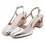 Silver Metallic Patent Leather Blunt Head Sling Back High Heels Shoes