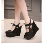 Black Punk Rock Gothic Lace Up Platforms Wedges Straps Shoes