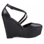 Black Punk Rock Gothic Cross Straps Platforms Wedges Straps Shoes