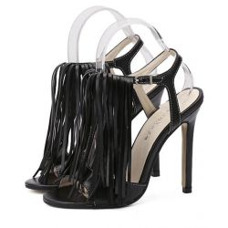 Black Bohemian Fringes Tassels High Stiletto Heels Pump Sandals Shoes