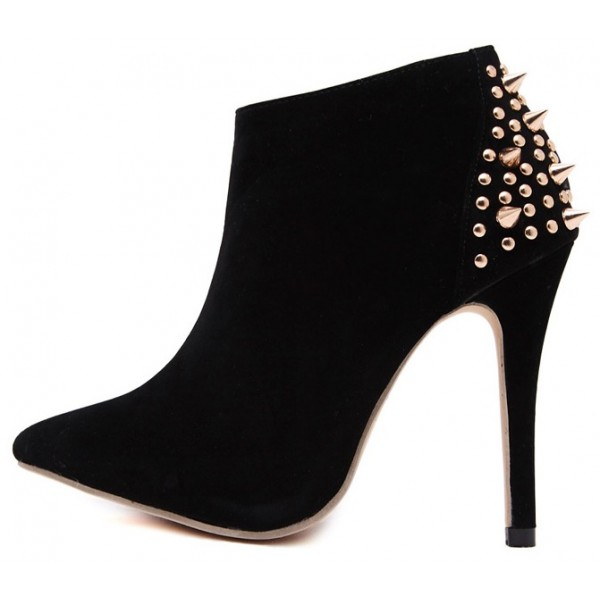 Black Spikes Studs Suede Point Head Stiletto High Heels Ankle Boots Shoes