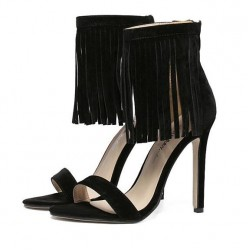 Black Suede Ankle Fringes Bohemia Retro Stiletto High Heels Sandals Shoes