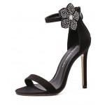 Black Suede Ankle Rhinestones Diamonte Flower High Stiletto Heels Pump Sandals Shoes