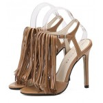 Brown Bohemian Fringes Tassels High Stiletto Heels Pump Sandals Shoes