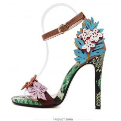 Green Colorful Flowers Snake Skin High Stiletto Heels Pumps Sandals Shoes