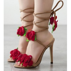 Khaki Red Roses Suede High Stiletto Heels Pumps Strappy Gladiator Goddess Sandals Shoes