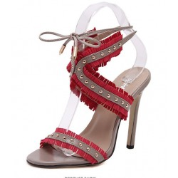 Khaki Red Studs Cross Straps Fringes Bohemian High Stiletto Heels Sandals Shoes