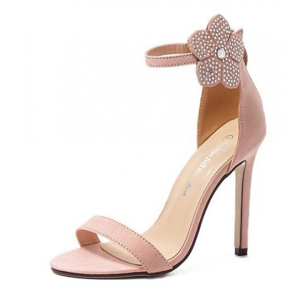 Pink Suede Ankle Rhinestones Diamonte Flower High Stiletto Heels Pump Sandals Shoes