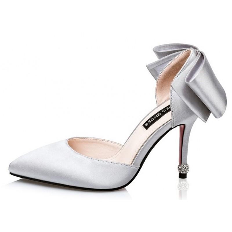 Silver Satin High Heels