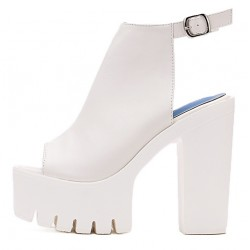 White Punk Rock Gothic Peep Toe Sling Back Block High Heels Platforms Sandals Shoes