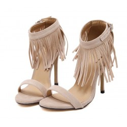Khaki Beige Suede Ankle Fringes Bohemia Stiletto High Heels Sandals Shoes