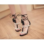Red Black Suede Straps Giant White Pearls High Stiletto Heels Sandals Shoes