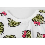 White Hello Kitty Leopard Cropped Short Sleeves Tops T Shirt