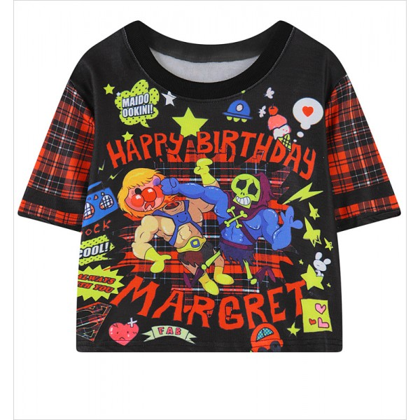 Black Cartoon Birthday Funky Cropped Short Sleeves Tops T Shirt