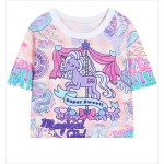Pink Unicorn Cute Cropped Short Sleeves Tops T Shirt