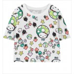 White Hello Kitty Cute Mushroom Cropped Short Sleeves Tops T Shirt