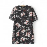 Black White Florals Flowers Chiffon Short Sleeves T Shirt
