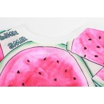 Pink Watermelon Damn Funky Cropped Short Sleeves Tops T Shirt