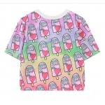 Purple Rainbow Damn Ice-Cream Harajuku Funky Cropped Short Sleeves Tops T Shirt