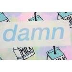 Blue Rainbow Damn Milk  Harajuku Funky Cropped Short Sleeves Tops T Shirt