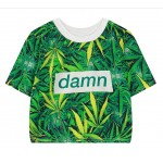 Green Hemp Leaves Damn Funky Cropped Short Sleeves Tops T Shirt