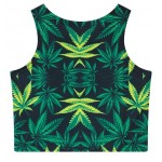 Green Hemp Leaves Sleeveless T Shirt Cami Tank Top