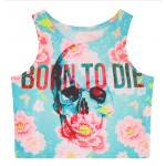 Blue Born To Die Skull Pink Sun Flowers Sleeveless T Shirt Cami Tank Top