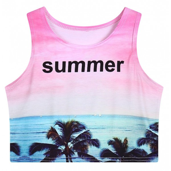 Pink Sea Shore Beach Sunset Sleeveless T Shirt Cami Tank Top