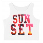 White Sun Set Sleeveless T Shirt Cami Tank Top