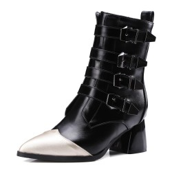 Black Pointed Head High Top Buckles Punk Rock Gothic High Heels Boots Shoes