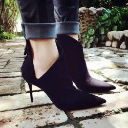 Black Suede Sexy Ankle Pointed Head Stiletto High Heels Boots Shoes