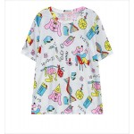 White Dog Cartoon Face Funky Short Sleeves T Shirt Top