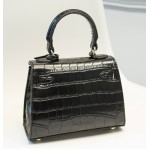 Black Crocodile Gold Padlock Mini Boston Doctor Handbag Cross Body Strap Bag