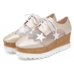 Khaki Brown Sheer Stars Lace Up Platforms Wedges Oxfords Shoes