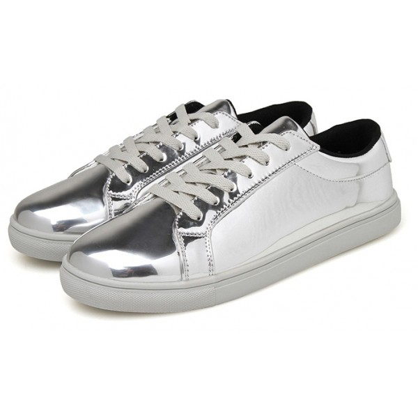 Silver Metallic Shiny Mirror Patent Leather Lace Up Shoes Mens Sneakers