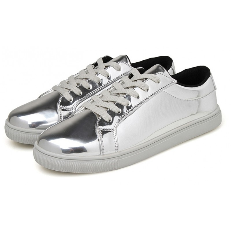 silver metallic shiny mirror patent leather lace up shoes