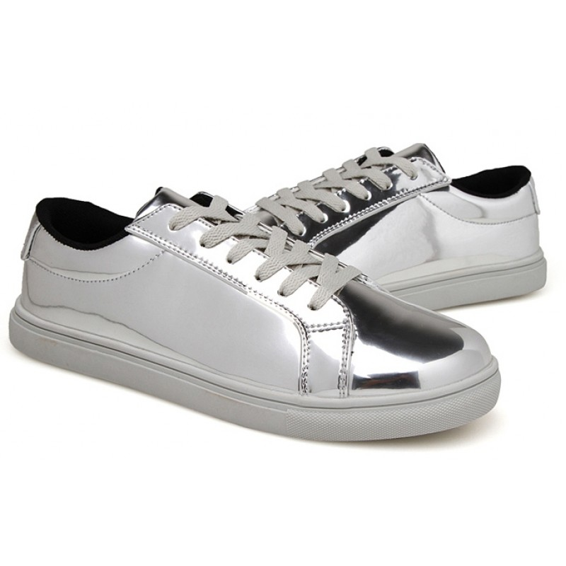 Silver Metallic Shiny Mirror Patent Leather Lace Up Shoes ...
