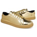 Gold Metallic Shiny Leather Punk Rock Lace Up Shoes Mens Sneakers