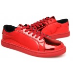 Red Metallic Shiny Leather Lace Up Shoes Womens Sneakers