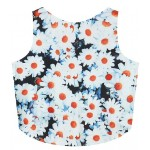 Green White Camomille Flowers Cropped Sleveless T Shirt Cami Tank Top