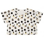 White Whatsapp Black Lips Emoji Cropped Short Sleeves T Shirt Top