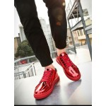 Red Metallic Shiny Leather Lace Up Shoes Mens Sneakers