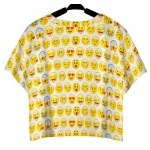 White Whatsapp Yellow Heads Emoji Cropped Short Sleeves T Shirt Top