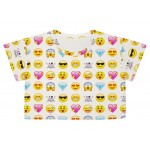 White Whatsapp Emoji Cropped Short Sleeves T Shirt Top