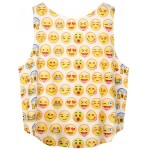White Whatsapp Emoji Yellow Faces Sleeveless T Shirt Cami Tank Top