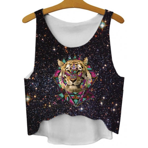 Black Galaxy Universe Lion Tiger Cropped Sleveless T Shirt Cami Tank Top