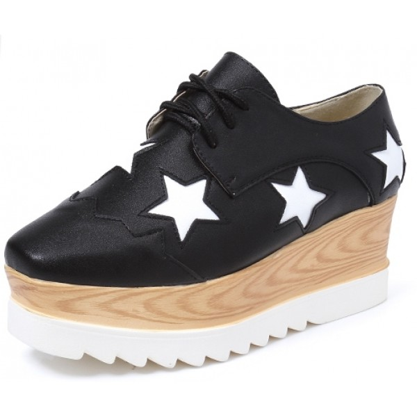 Black Leather Stars Lace Up Platforms Wedges Oxfords Shoes
