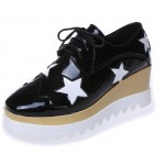 Black Patent Leather Stars Lace Up Platforms Wedges Oxfords Shoes